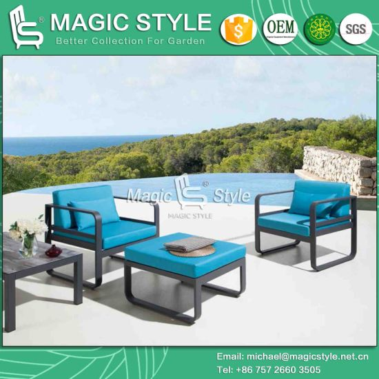 Outdoor Aluminum Leisure Sofa Set With Cushion Garden Single Sofa Modern  Sofa With Footstool Patio Footstool Hotel Project Furniture