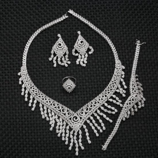 China B30011 Bollywood Style Necklace Set American Diamond Cz Heavy Bridal Jewelry Set China Luxury Jewelry Set And Women Jewelry Set Price