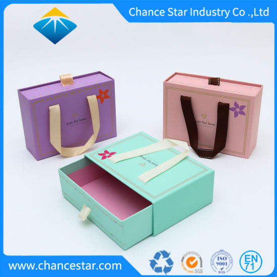Custom Creative Paper Cardboard Gift Box Drawer Box with Handle
