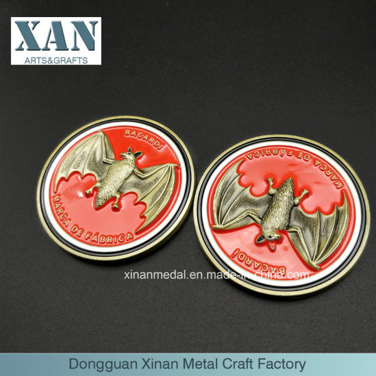 3D Double-Sided Bat Engraving Effect of Zinc Alloy Metal Enamel Commemorative Coins