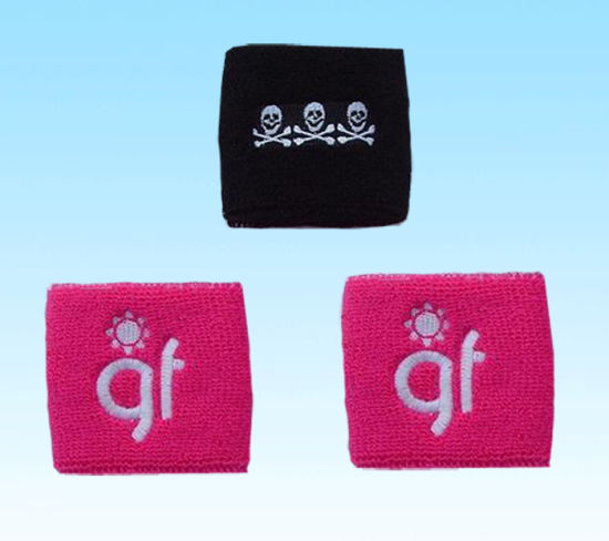Custom Cotton Sport Wristband Wrist Sweatband with Embroidery Logo pictures & photos