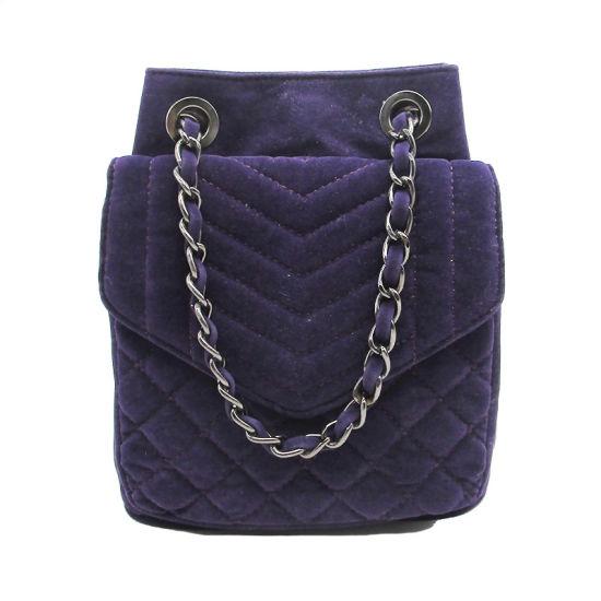 2018 Latest Design Blue Handbags Chain Shoulder Women Bag Fashion with Lint  New Design Promotional Fashion OEM Custom Promotion Tote Bag Shoulder Bag 9efec16f4ec19