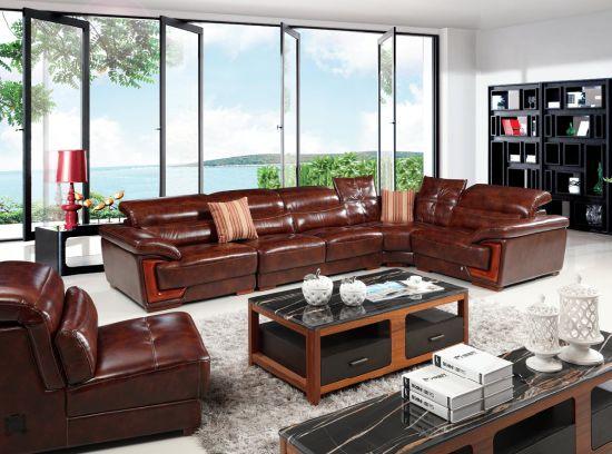 [Hot Item] African Big Corner Living Room Genuine Leather L Chape Sofa  Sbl-9156