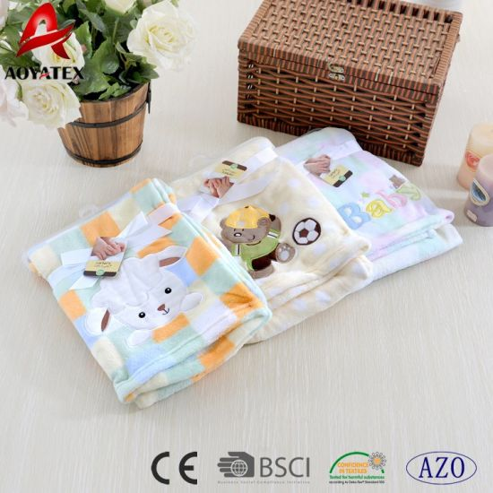 e08ae828945f 2017 High Quality Cheap Animal Embroidered Pattern Newborn Baby Blanket