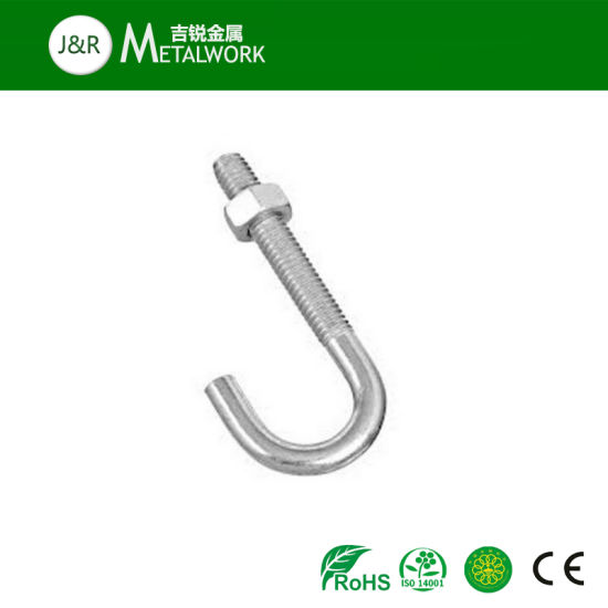 China SS304 SS316 Stainless Steel J Shape Foundation Bolt