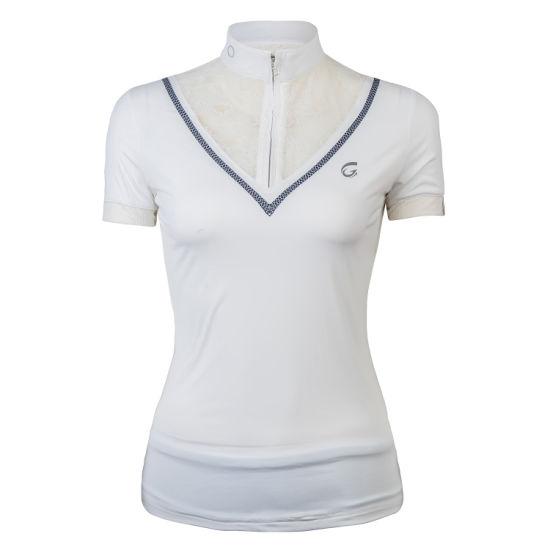 Wholesale Women's New Design White Beautiful Lace Pattern Hot Sell Polo Shirt