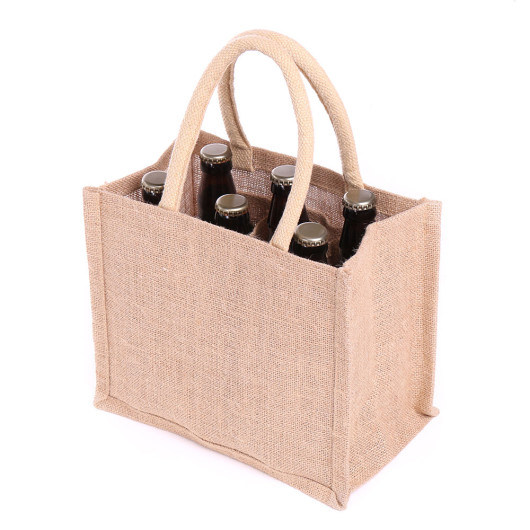 Custom Grocery Supermarket Wholesale Gift 6 Bottle Carrier Burlap Hemp Jute Wine Shopping Tote Bag