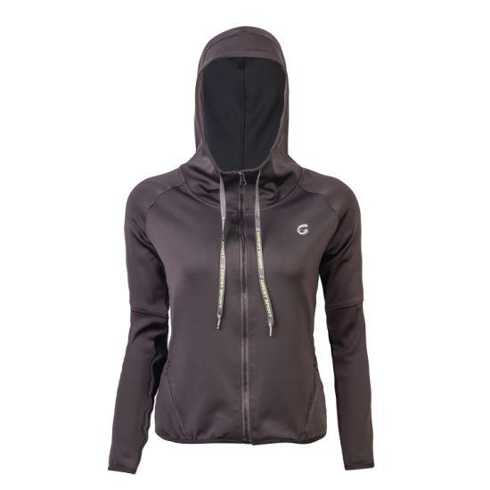 Women's Wholesale Sportswear Black Knitted Embossed Print Hoodie