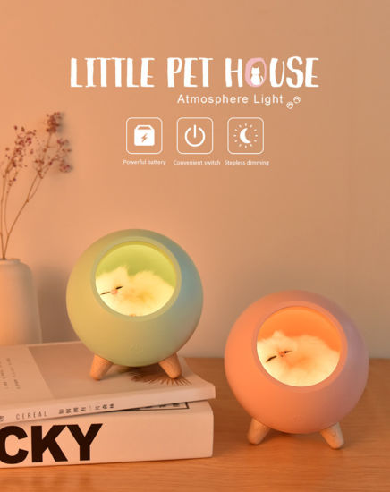 USB Cute Cat House Touch Dimming LED Night Light Kid Baby Bedroom Home Modern Indoor Study Bedside Decoration Creative Gift Lamp