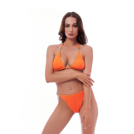 Special Fabric High Quality Mature Women Sexy Bikini with Metal Rings