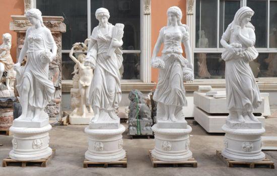 Graceful Goddess Hand Craft Marble Figure Statue Stone Sculpture (SYMS-052)