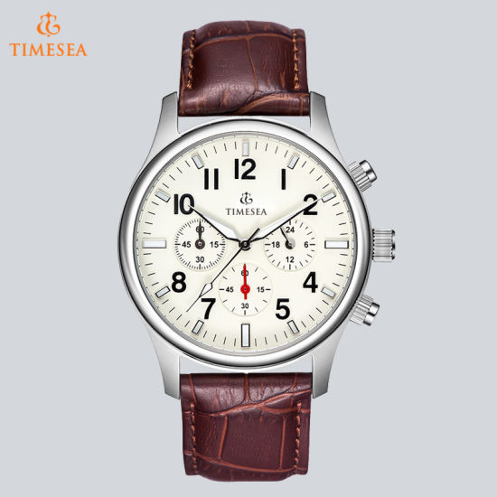 Large Dial Leather Strap Quartz Men Watches Fashion Vintage Watch Waterproof Multifunction Man Watches 72699 pictures & photos