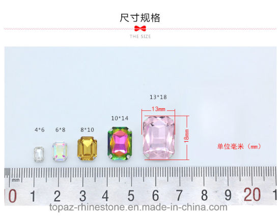 Rectangle Sew on Rhinestone with Claw Setting Silver Back Fancy Stone with Metal Claw (SW-Rectangle 13*18/3A) pictures & photos