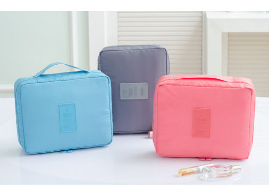 Luxury Waterproof Handle Multiple Compartments Nylon Zipper Travel Makeup Cosmetic Bag
