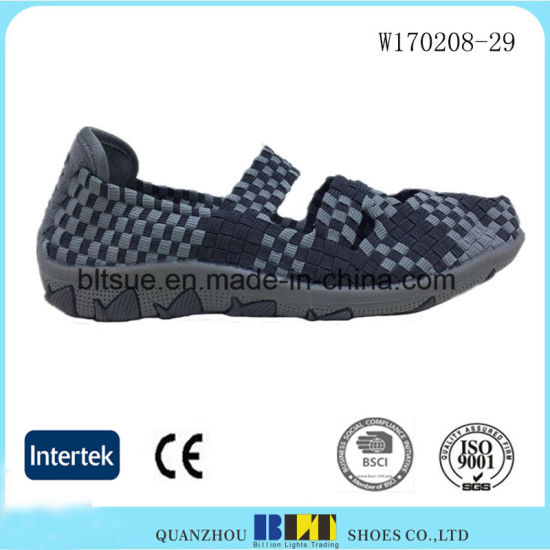 Hand Making Elastic Upper Women Woven Shoes