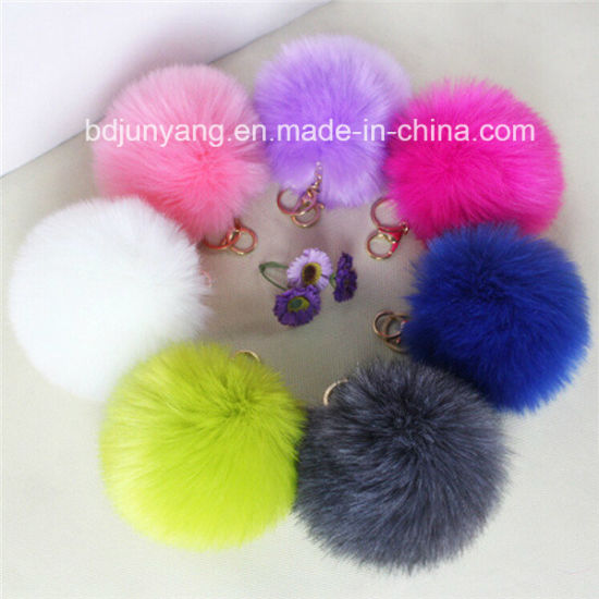 Women Vintage Faux Fur Ball Keychain pictures & photos
