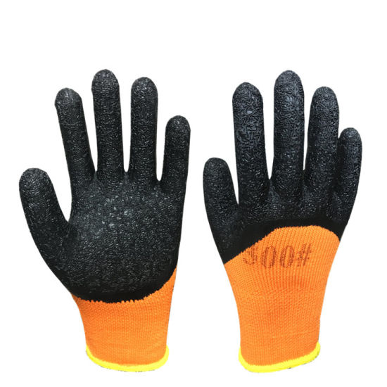 Orange Cotton Black Crinkle Latex Coated Winter Warmth Terry Safety Gloves