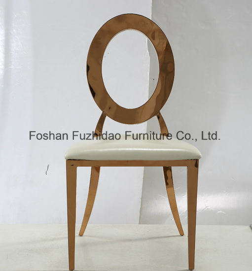 Round Back with Hollow High Quality Stainless Steel Gold Wedding Chair pictures & photos