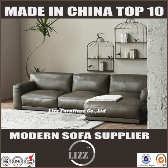 Simple Home Furniture Leather Sofa with Feather Inside (LZ-708) pictures & photos