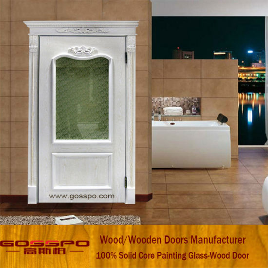 China White Paint Wood Bedroom Door With Frosted Glass Gsp3 042 - Bedroom-doors-painting