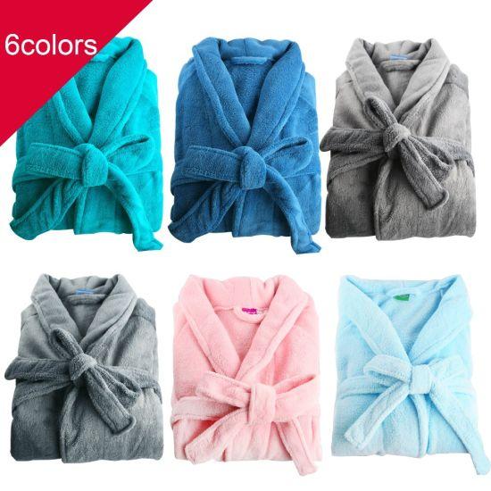 High Quality Polyester Polar Fleece Velvet/Velour Hotel Bathrobe