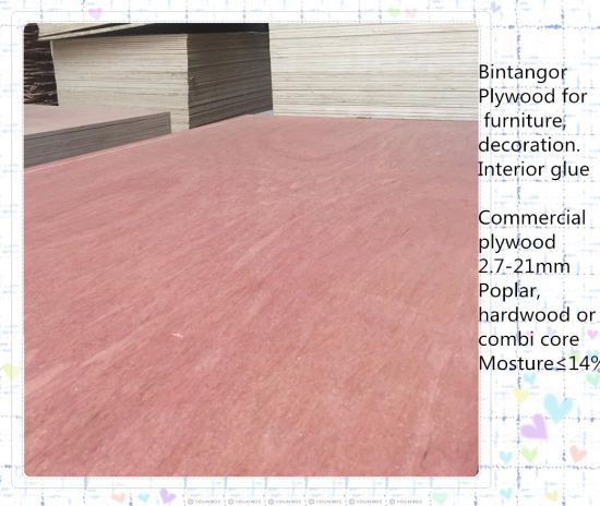 China Bintangor Face Poplar Core Commercial Plywood for Decoration ...