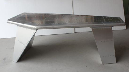 Aviator Aluminum Wing Desk with Drawer, Aluminum Desk with Silver Nails T-013 pictures & photos
