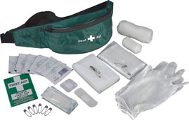 Emergency Standard Green First Aid Kit in Waist Bag