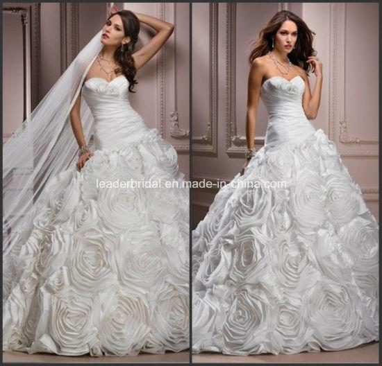 White Sweetheart Taffeta Ball Gown Wedding Dress With Veils Yao83