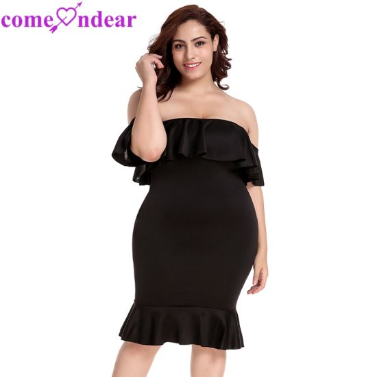 deb6fceaa83 Plus Size Black Ruffle off-Shoulder Wholesale Summer Dresses pictures    photos