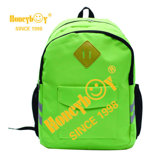 Fashion Whole Sales Mochila for Students with PU Label and Reflective Straps Backpack for Boys