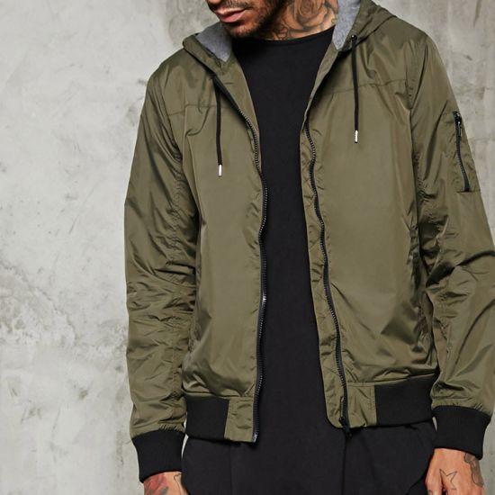 c20eb2020c941c Polyester Plain Windbreakers Jacket Zipper Down Jackets Men Winter Coats  with Hood