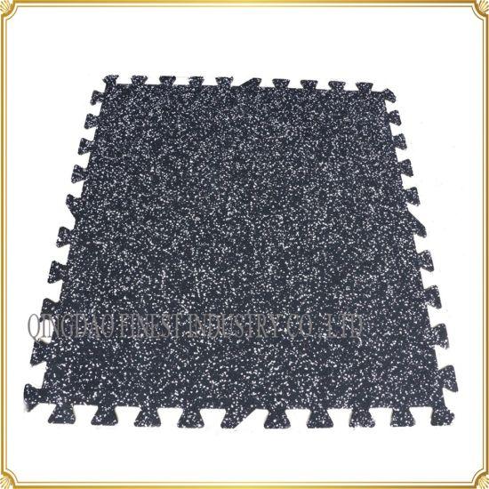 Durable Interlocking Gym Rubber Flooring Mat Tile, Jigsaw Puzzle Floor Mat for Fitness