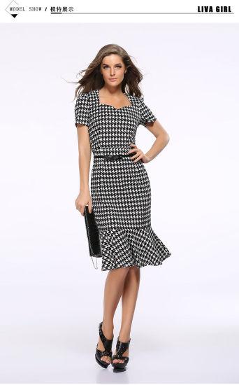 94aa002a218b2 Women Dress Classy Short Sleeve Tunic Bottom Flounce Dress (18136)