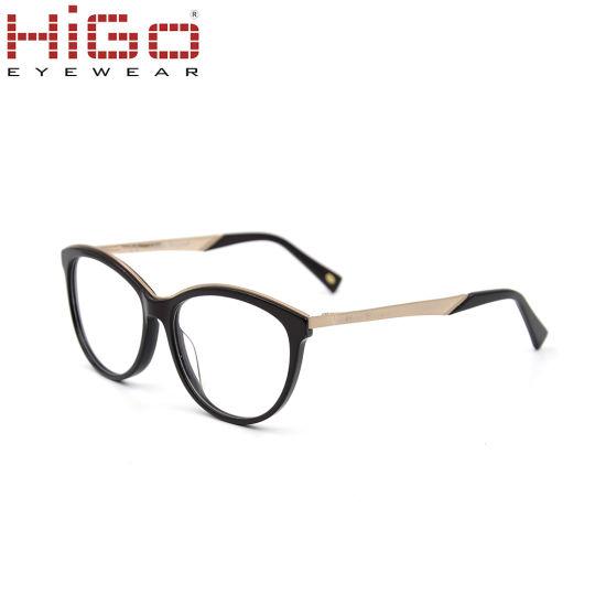 Customized Made Handmade Acetate Eyeglass Frame with Metal Temple