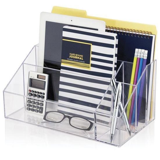 Clear Acrylic Desk Office Accessories Box File Organizer With Compartments