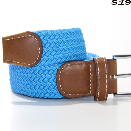 S19men Braided Belt Leisure Wild Models Buckle Elastic Belt with Canvas Belt