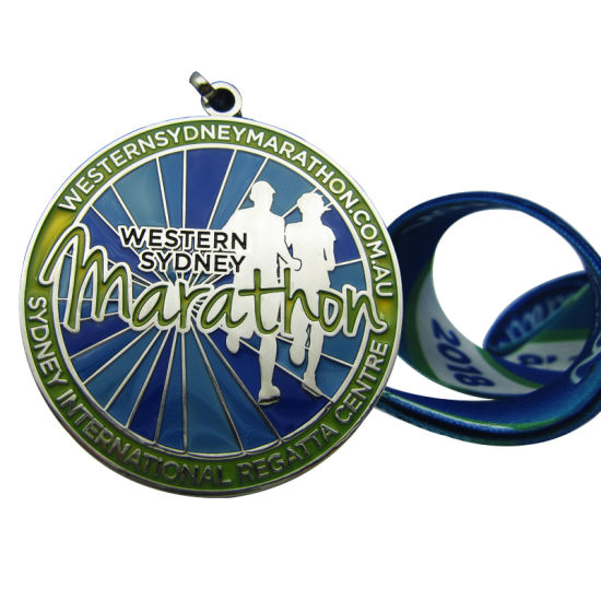 Top Quality Western Sydney Marathon Medal with Heat Transfer Printing Lanyard for Government (006)
