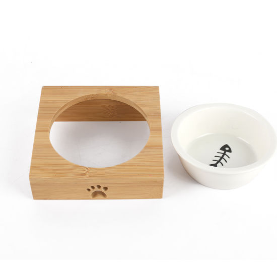 China Wholesale Pet Feeder Wooden Ceramic Dog Bowls With Stand