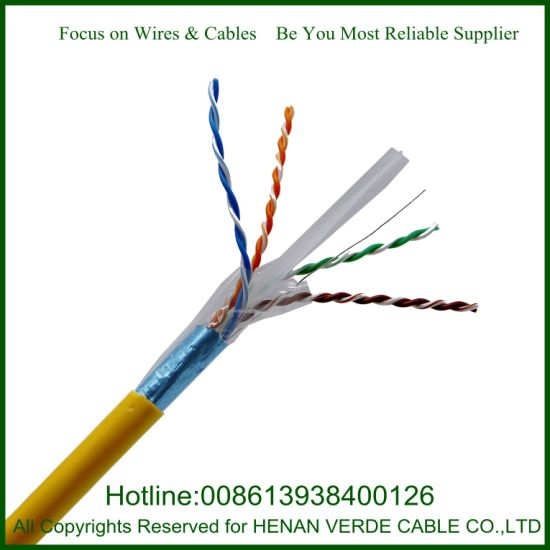 AWG23 HDPE Insulation RoHS PVC Sheathed UTP FTP Shield CAT6 LAN Cable