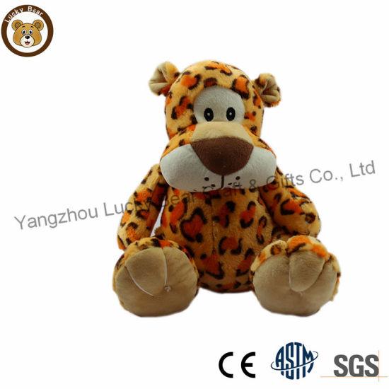 OEM/ODM New Design Soft Fuzzy Zoo Animal Toy Leopard