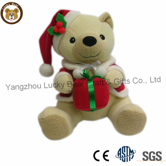 Wholesale Christmas Decoration Soft Plush Baby Kids Toy Teddy Bear with Red Hat