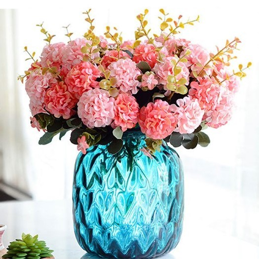 Cheap Silk Artificial Hydrangea Flowers Bouquet for Wedding Decoration