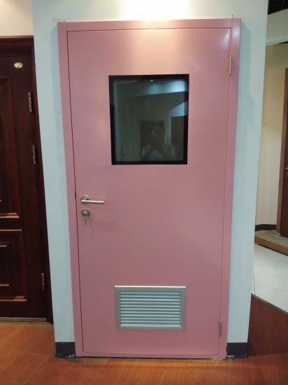 Exterior & Interior Clean Room Metal Flush Swing Steel Doors with Vision Glass for Food or Pharmaceutical Industries