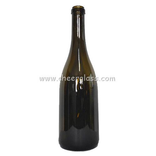 750ml Antique Green Color Glass Burgundy Bottle