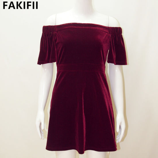 2020 High End Customised Wholesale Women Sexy Party Velvet Dress