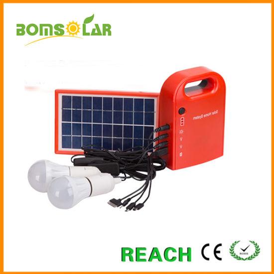 Mini Solar Home Lighting System with LED Bulbs