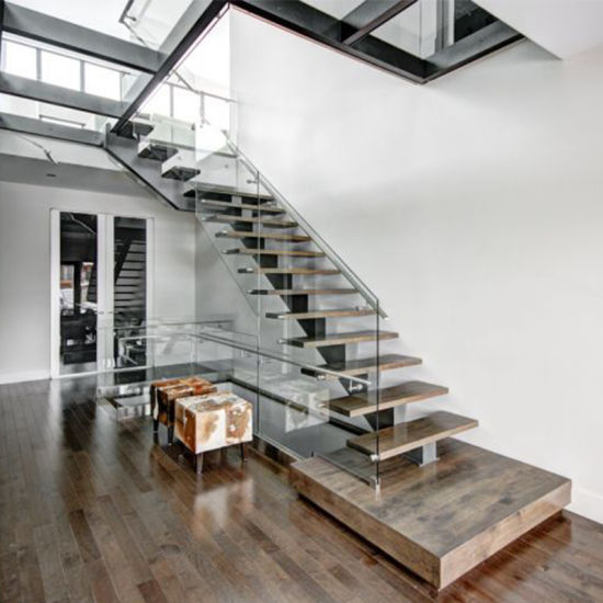 Straight Stainless Steel Spigot Glass Timber Staircase Indoor Outdoor Design
