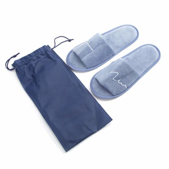 Fashion Shoe Blue Velvet Pile Slippers for Home/SPA/Bath/Hotel Good for Under Bathrobe&Daily Use
