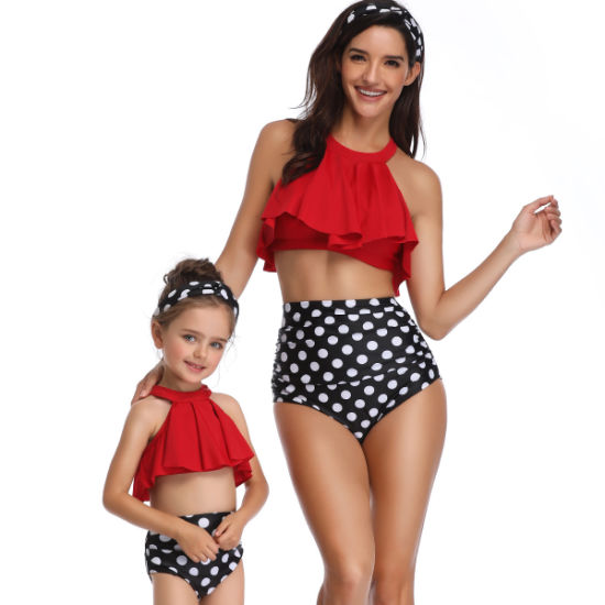 Mother and Daughter Swimsuit High Waist Halter Bikini Family Matching Swimwear pictures & photos
